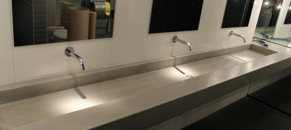 Polished concrete vanities bowls and shower panels Concrete countertops bathroom vanity
