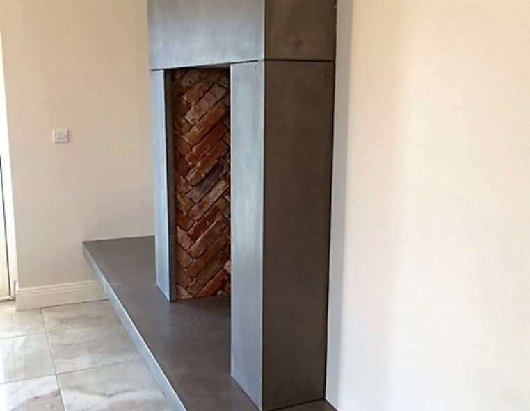 Polished Concrete Fireplace And Surround