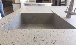 Exposed aggregate integrated sink island