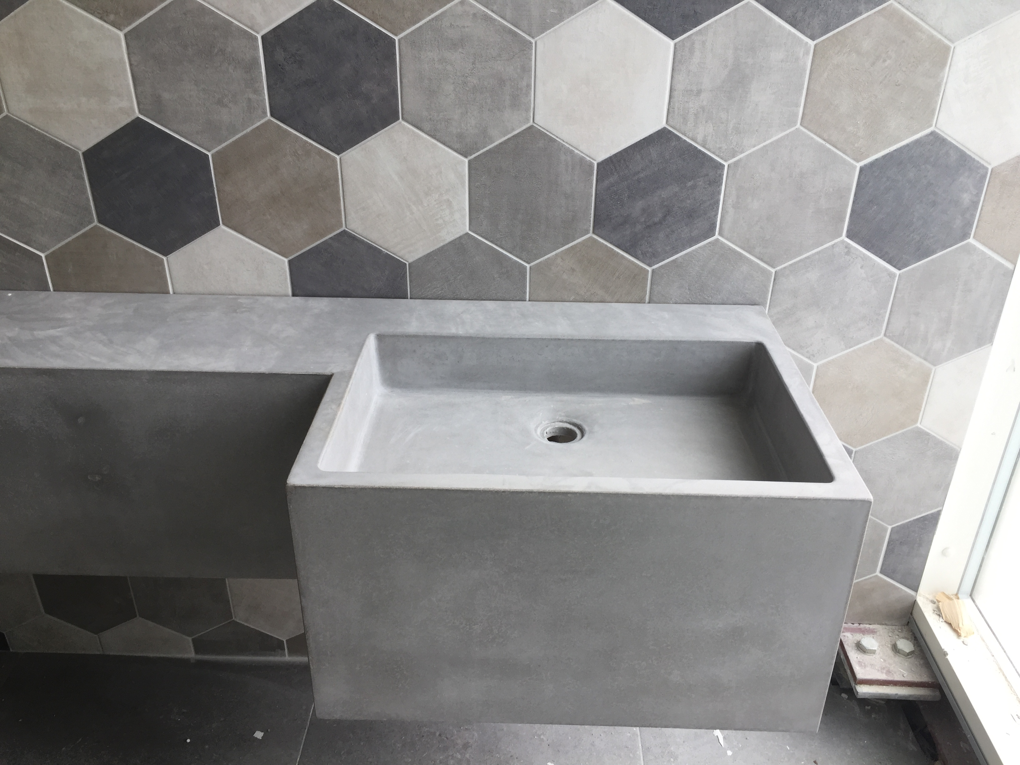 Custom polished concrete vanity