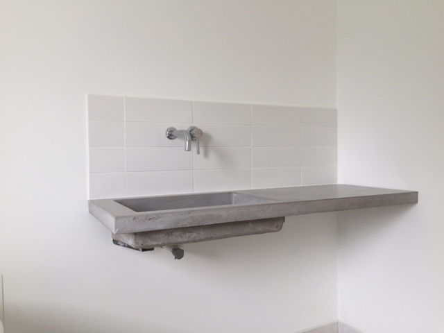 Polished concrete vanity